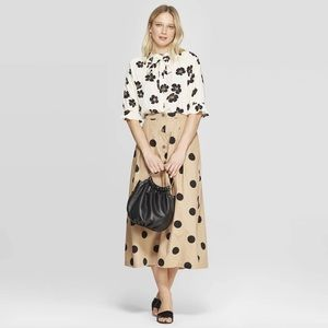 NWT Who What Wear Button Front Polka Dot Skirt